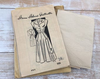 1940s Sewing Pattern Anne Adams 4914 Dress size 34 Complete Pre-cut, Unprinted, unused paper pattern--factory folded