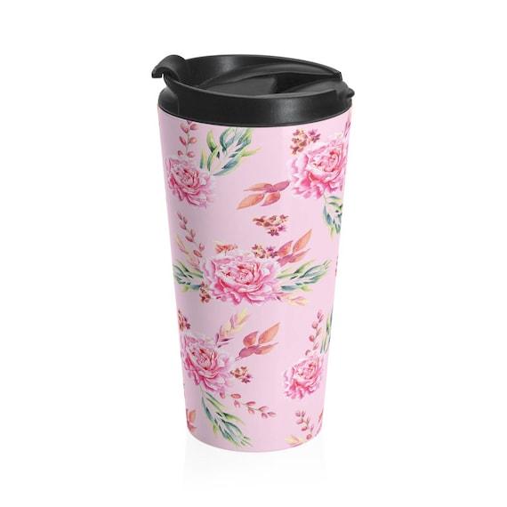Travel Mug Pink Roses Stainless Steel Tumbler
