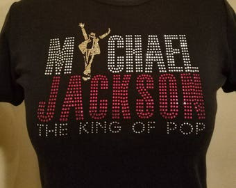 Michael Jackson, Singer, Songwriter and The King of Pop. Billie Jean, Beat It,  Man in the Mirror. Stone and glitter colors can be changed.