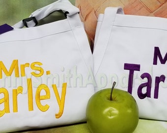 """Matching set aprons Embroidered Couple's Gift Aprons. Many colors + fonts. 24""""L x 28""""W professional 3 pocket full bib. His can be longer!!!"""