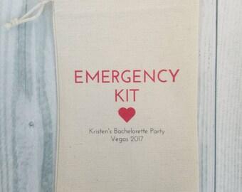 10 Bachelorette Party Favor, Hangover Kit, Survival Kit, Recovery Kit, Emergency Kit, Custom Bachelorette Party Bags - Emergency Kit