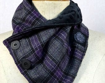 Purple and grey Plaid scarf