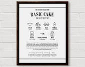 Recipe Wall Art, Recipe Printable, Recipe Poster, Recipe Print, Illustrated Recipe, Kitchen Print, Cake Recipe, Kitchen Wall Decor, Recipes