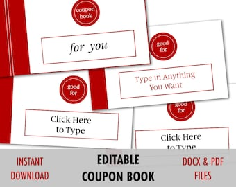 Valentines Day Gift For Him, EDITABLE Love Coupon, Love Coupon Book,  Editable Coupon  Coupon Sample Template