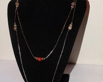 ON SALE Vintage Liquid Silver Genuine Agate Stones Beaded Necklace.