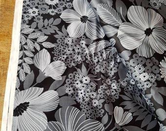 Vintage fabric floral grey black white vintage fabric large piece 114cms x 290cms