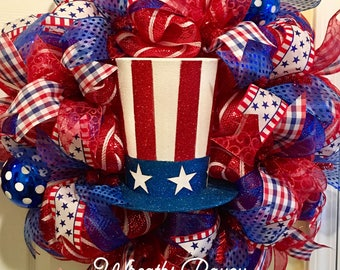 Patriotic Wreath Fourth of July Wreath Veterans Day Wreath Memorial Day Wreath Uncle Sam American *MADE TO ORDER*