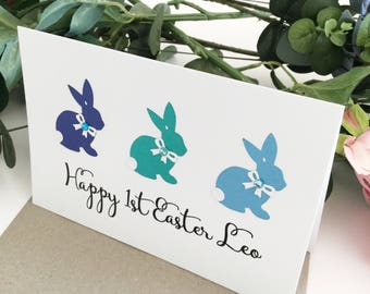 1st Easter Gift Happy 1st Easter 2018 My First Easter Greeting Card Baby Boy Gift Easter Boy Gift Babys First Easter Bunny Rabbits Blue Aqua