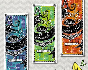 Cute Bookmarks, Get Lost in a Book, Unique Bookmarks, Bright Colors, Book Lover Gift, Hand drawn, Bookmark Printable, Bookmark set,