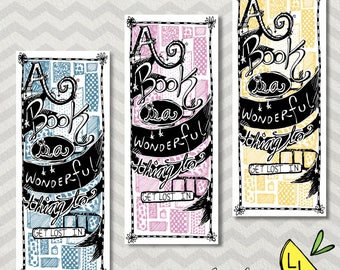 Cute Bookmarks, Get Lost in a Book, Unique Bookmarks, Pastels, Book Lover Gift, Hand drawn, Printable Bookmarks, Bookmark set, Reader Gift,