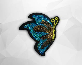 Butterfly Sequin Iron on Patch (M) - Sequin Butterfly,Glitter Applique Iron on Patch - Size 7.8x8.1 cm