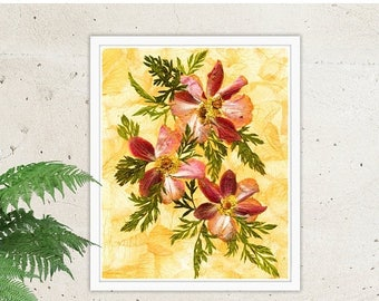 ON SALE Instant Download, Anemone, Rose, Carrot Haulm, Pink Flower, Housewarming Gift, Gift For Women, Home Decor, Pink Petals, Digital Down