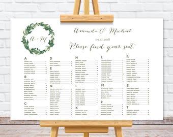 Alphabetical order greenery wedding seating chart, greenery watercolor wreath, personalize wedding seating plan, rush turnaround