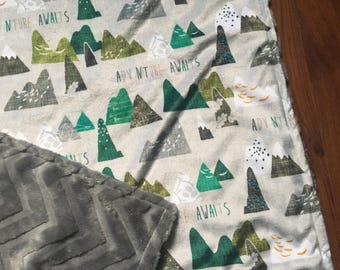 Mountain Adventure baby blanket //  featuring plush minky with faux fur backing