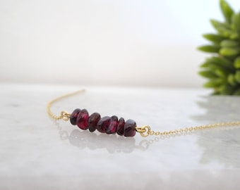 Garnet crystal bead bar necklace, Natural Garnet gemstone pendant, January birthstone necklace, Dainty neckalce, Bridesmaid necklace