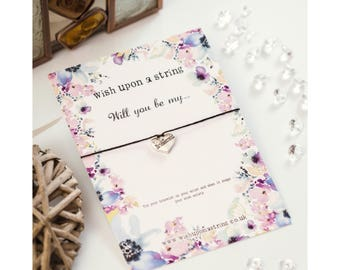 Will You Be My Bridesmaid/Maid Of Honour/Honor Flower Girl? Wish String Bracelet Card