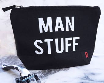 Man Stuff Wash Bag - Mens Travel Bag - Fathers Day Gift - Grooming - Travel Toiletries Bag - Gift For Him - Gift For Dad - Wash Bag