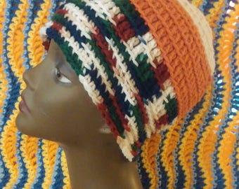 Crochet Hat Beanie Cap in Multi Colors Hand Crocheted Tam