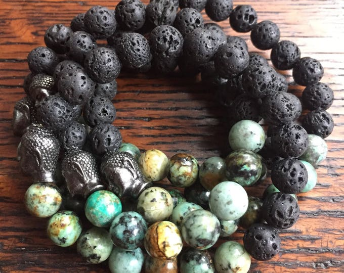 Stackable Essential Oils Diffuser Lava Bead, African Turquoise + Buddha Yoga and Meditation Bracelet (single bracelet)