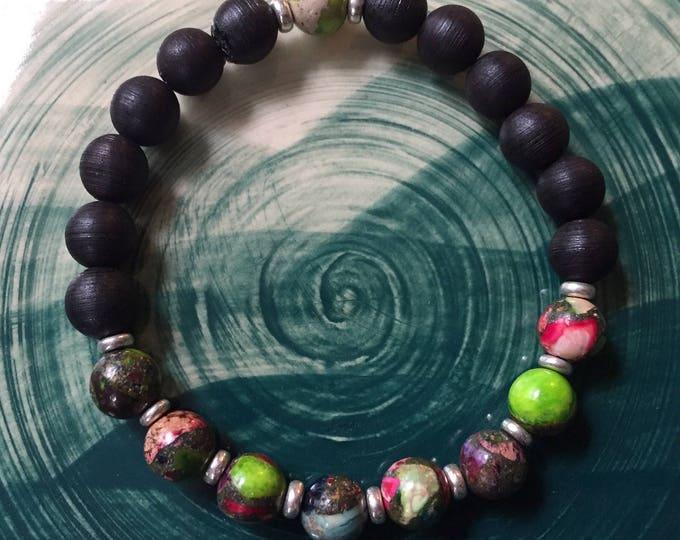 Stackable Mala Inspired Black Sandalwood + 5 Color Sea Sediment Jasper Yoga and Meditation Bracelet