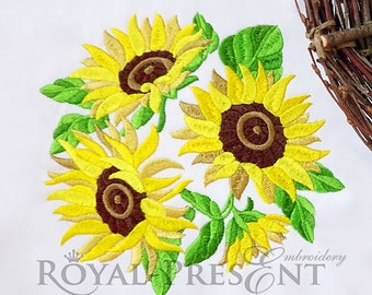 Machine Embroidery Design Sunflowers bouquet - 3 sizes