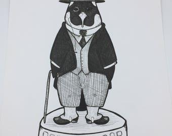 Crime Emperor Penguin Original marker ink iillustration