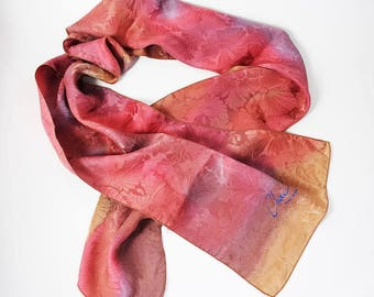 Chou French Hand Painted Silk Scarf Neck Scarf Made In France