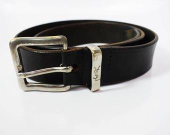 Authentic Yves Saint Laurent Vintage Men's Leather Belt Black Size 34