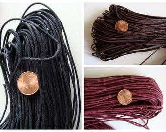 FIL coton ciré 1,5mm par 75m cordon en écheveau Noir Marron foncé ou Rouge foncé