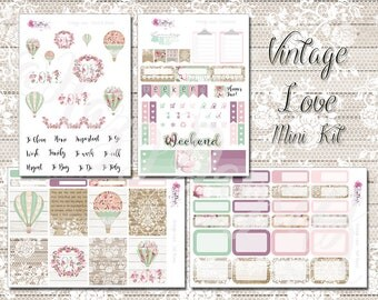 Vintage Love - Planner Stickers, Mini Kit, Deluxe Kit, Weekly Sticker Kit. For ECLP, Happy Planner, Personal Planner