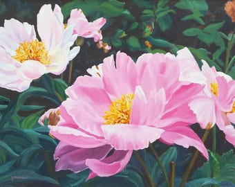 Flower painting in oils 'Peonies in Monets garden, Giverny' by Gabrielle Marlow