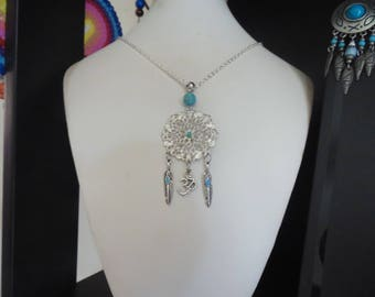 Silver and turquoise mandala necklace