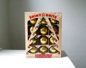 Vintage Shiny Brite Christmas Ornaments . Box of Gold Ornaments . 1950's Christmas Decorations . Antique Glass Ornaments . Boxed Set
