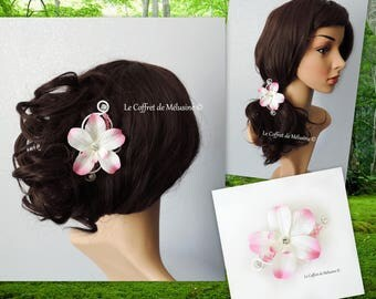 Pink and white flower with Rhinestone wedding hair clip Barrette