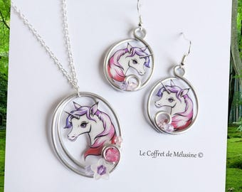 White pink red Unicorn earrings and necklace