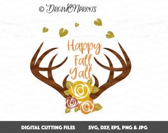 Happy Fall Y'all svg Cut File, Thanksgiving svg, Floral Antlers svg, Deer svg, Antlers svg dxf, Fall svg, Cricut, Cameo SVDP437