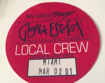 1991 Gloria Estefan Into the Light Tour Access Pass Local Crew Techical Area