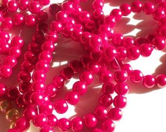 50 8 mm fuschia pink glass pearl beads