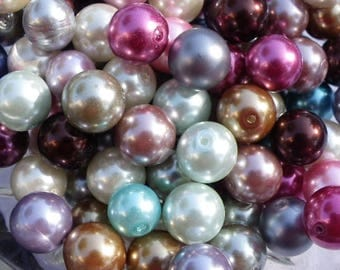 20 multicolored Pearl 12 mm glass beads