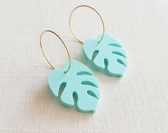 Monstera Mint Earrings, Tropical Earrings, Nature Jewelry