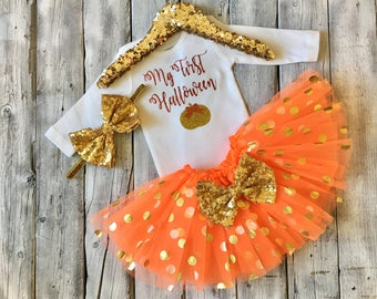 Baby girls 1st Halloween outfit, girls first Halloween, orange gold, newborn 1st halloween, 1st halloween outfit girls, baby girl Halloween