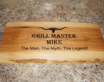 Engraved Cutting Board, Rustic Cutting Board, White Oak Cutting Board, Personalized Cutting Board, Father's Day Cutting Board