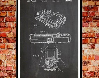 Nintendo Game Boy Poster Game Boy Patent Print Nintendo Patent Print Video Game Posters Video Game Art Nintendo Game Boy Gaming Art (WB064)