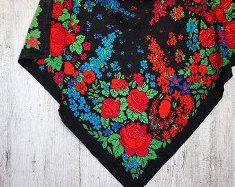 Vintage floral shawl black scarf wool shawl folk accessory colorful scarf Ukrainian shawl gift for her