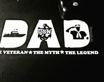 Navy, Veteran, Dad, Myth, Legend, Father's Day, Best Dad, Military, Troops, Support Military, Navy Veteran