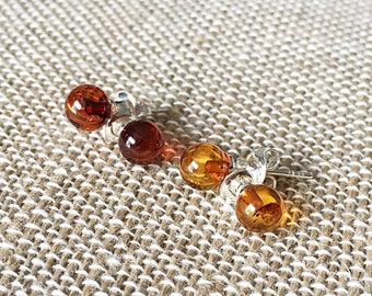 Baltic Amber Stud Earrings Cognac or Cherry Amber. Sterling Silver