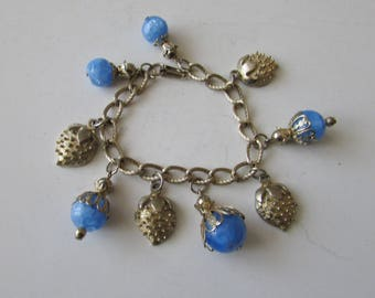 Vintage Blue Goldtone Charm Bracelet Jingly Charm Bracelet