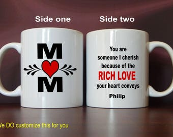 Son to Mom Gift, Coffee Mug for Mother-Mommy for Christmas-Birthday-Mothers Day Gift, You are Cherished because of the Rich Love, MMA006