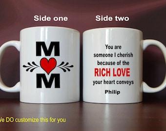 Custom Mom Gift, Mug for Mother, Mom Gift from Daughter, Mom Christmas Gift, Birthday Gift, Mother's Day Gift, Coffee Mug MMA006