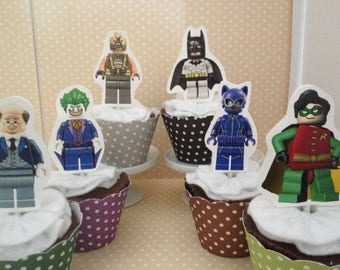 Lego Batman Movie Party Cupcake Topper Decorations - Set of 10